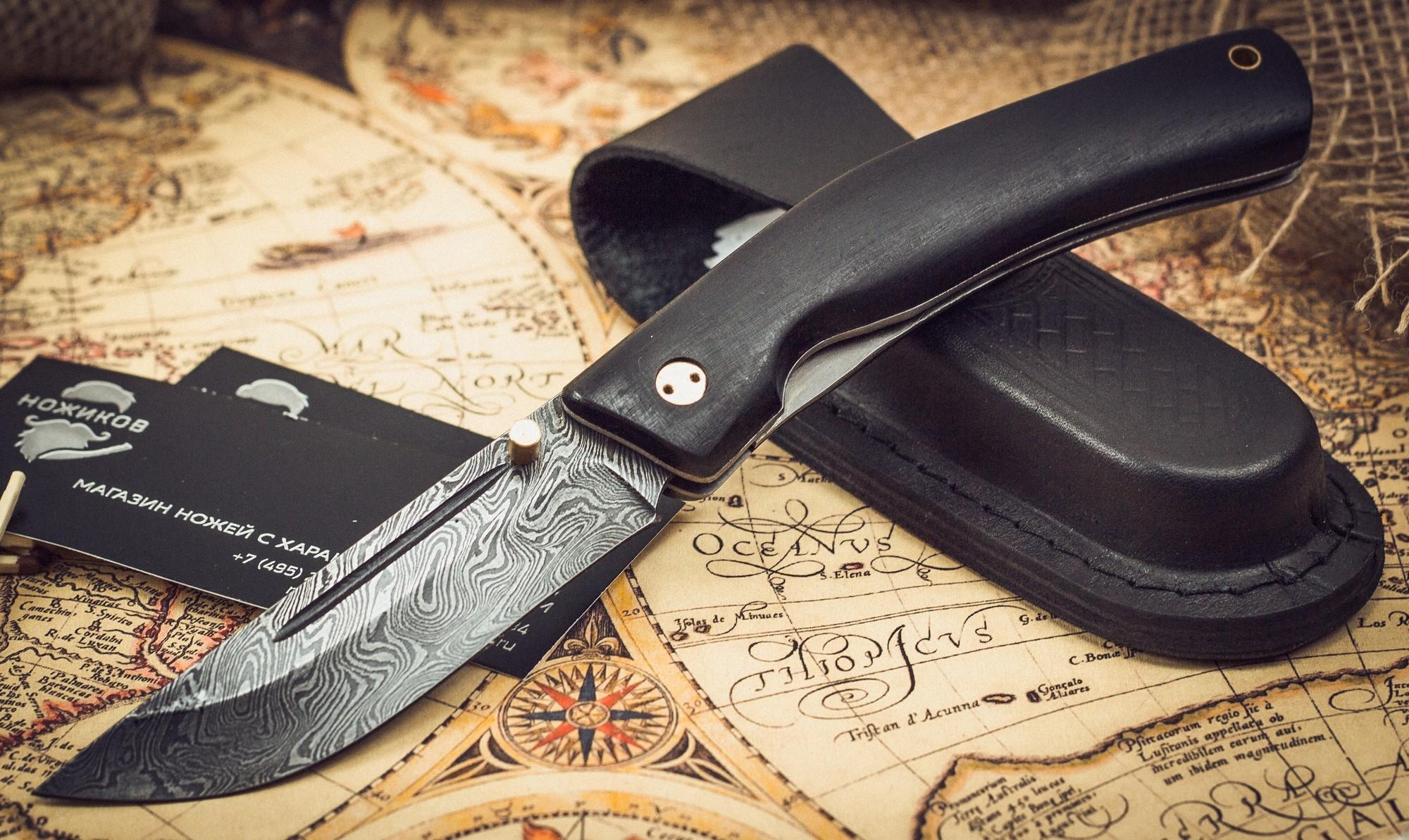 Складной нож Нижегородец, дамаск, грабРаскладные ножи<br>Складной нож «Нижегородец» относится к категории универсальных ножей, которые рассчитаны на применение в различных сферах. На охоте эта модель может использоваться в качестве вспомогательного ножа при разделке туши животного. В туристическом походе, нож пригодится в качестве вспомогательного лагерного ножа. На рыбалке такому ножу также найдется свое применение. К тому же такой нож может стать приятным и ценным подарком для настоящего мужчины. Клинок из дамасской стали и удобный кожаный чехол, несомненно, повышают ценность такого ножа.<br>