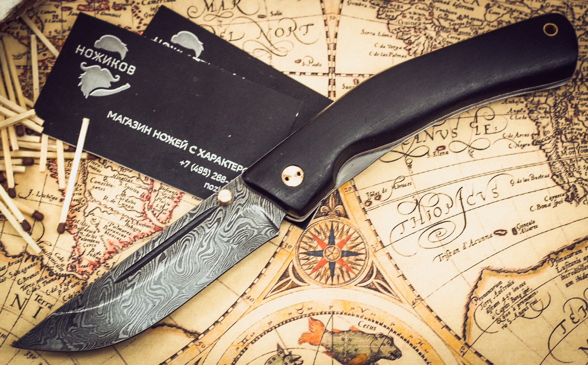 Фото 2 - Складной нож Нижегородец, дамаск, граб от Марычев