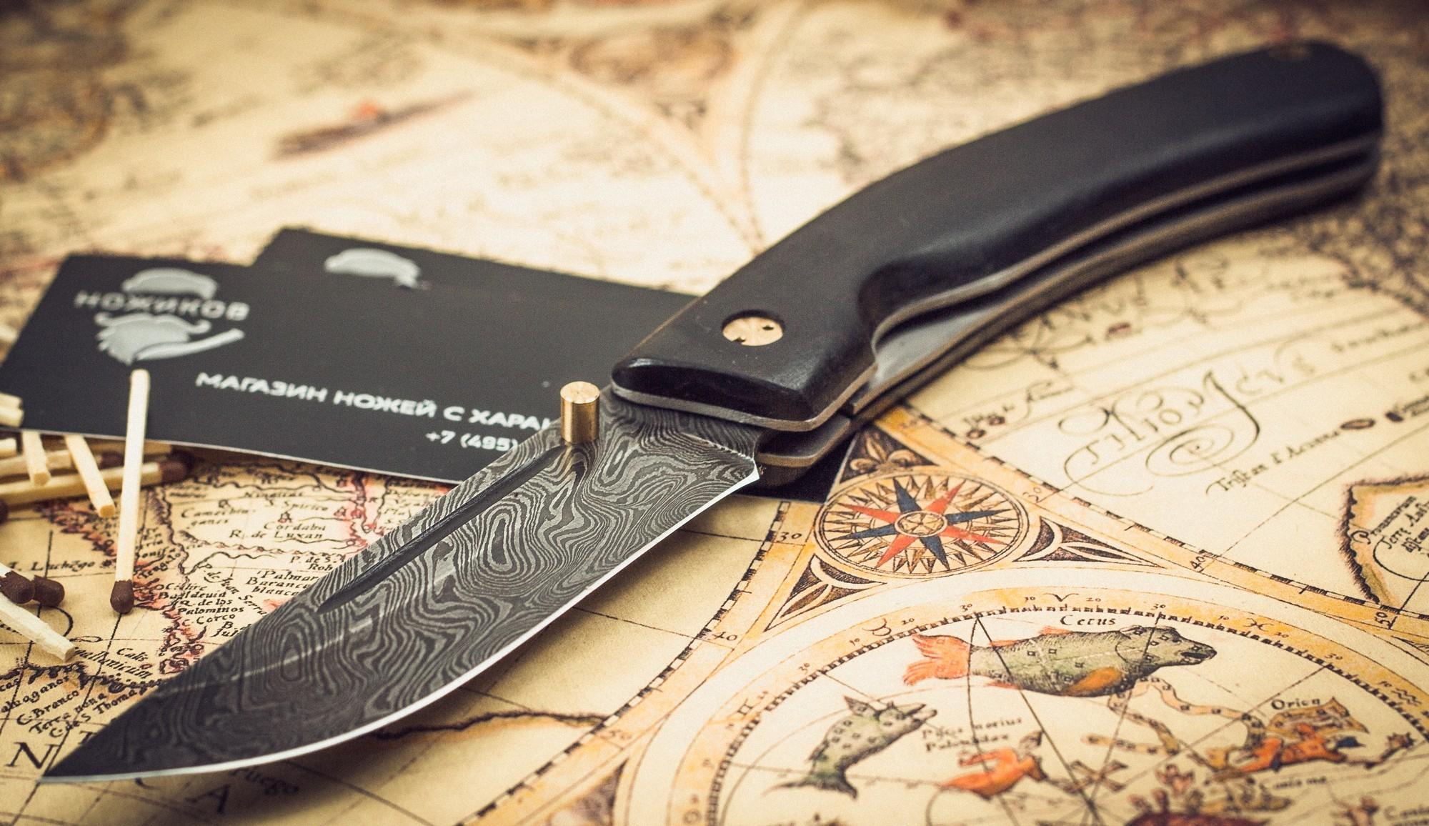 Фото 3 - Складной нож Нижегородец, дамаск, граб от Марычев