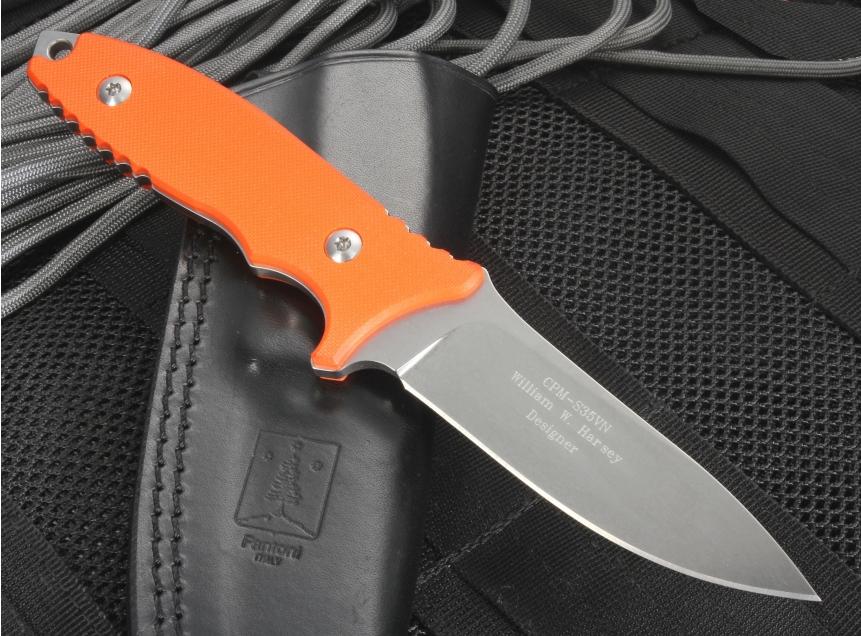 Фото 2 - Нож с фиксированным клинком HB Fixed, Orange G-10 Handle, Stonewashed Crucible CPM® S35VN™, William (Bill) Harsey Design (Black Leather Sheath) 9.0 см. от Fantoni