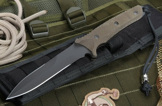 Нож с фиксированным клинком Spartan Breed Fighter (Black SpartaCoat/Green Micarta/Black Molle Sheath) 13.97 см.Охотнику<br>Нож с фиксированным клинком Spartan Breed Fighter (Black SpartaCoat/Green Micarta/Black Molle Sheath) 13.97 см.<br>