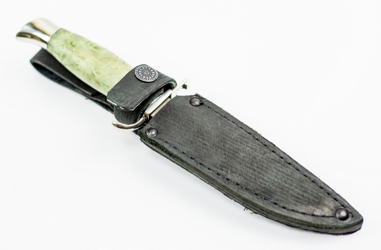 Нож Финка НКВД, булат, мельхиор, карельская береза