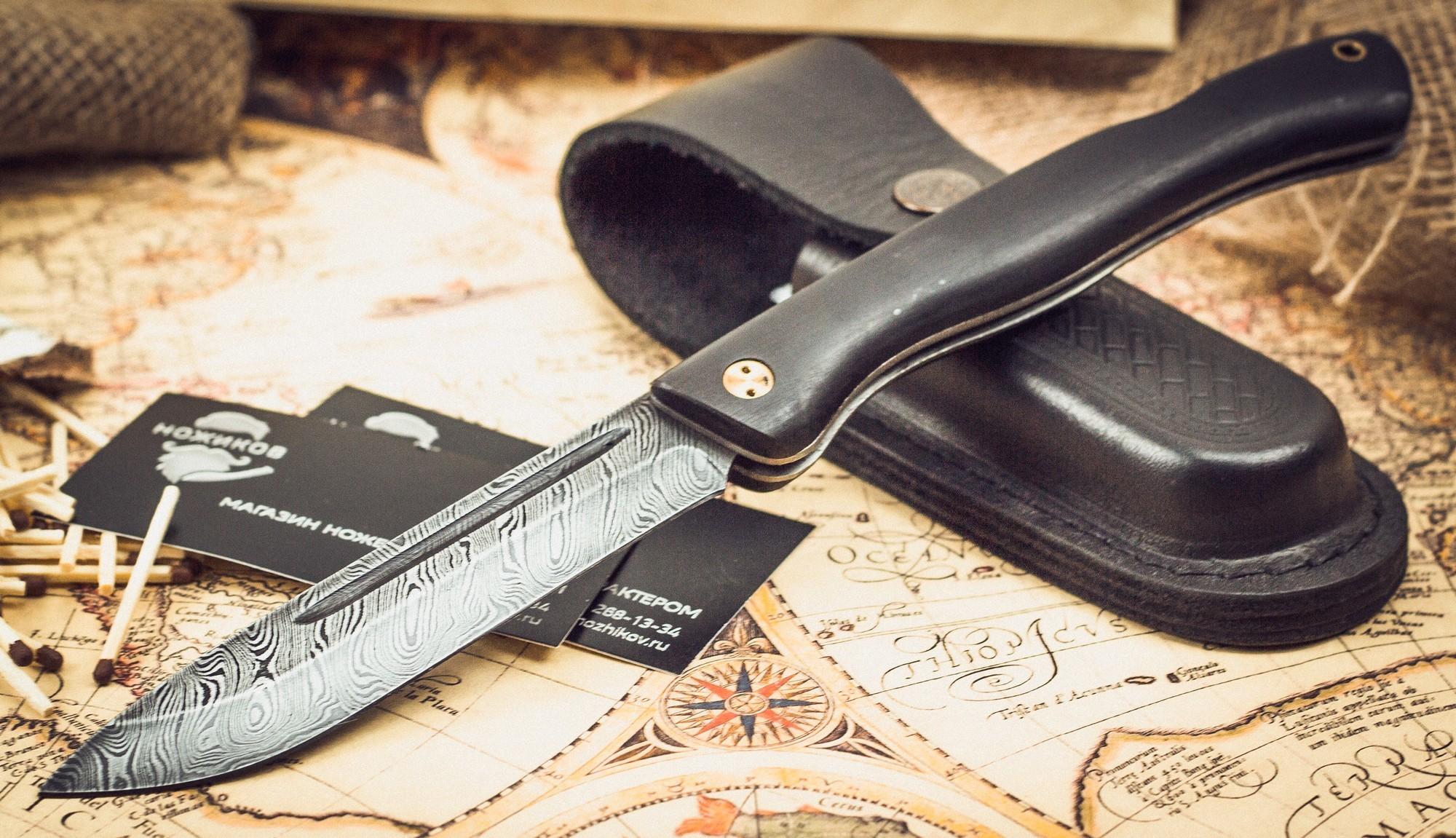 Складной нож Лесничий, дамаск, граб от Марычев
