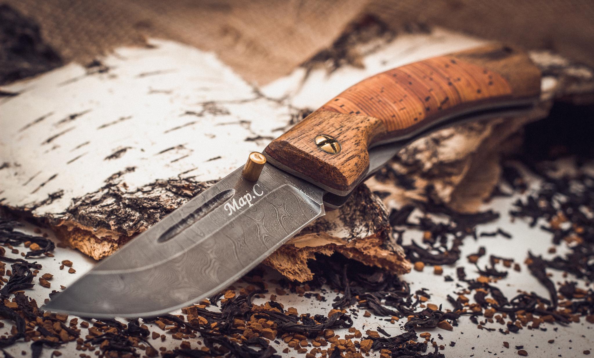 Фото 2 - Складной нож Нижегородец, дамаск, береста от Марычев