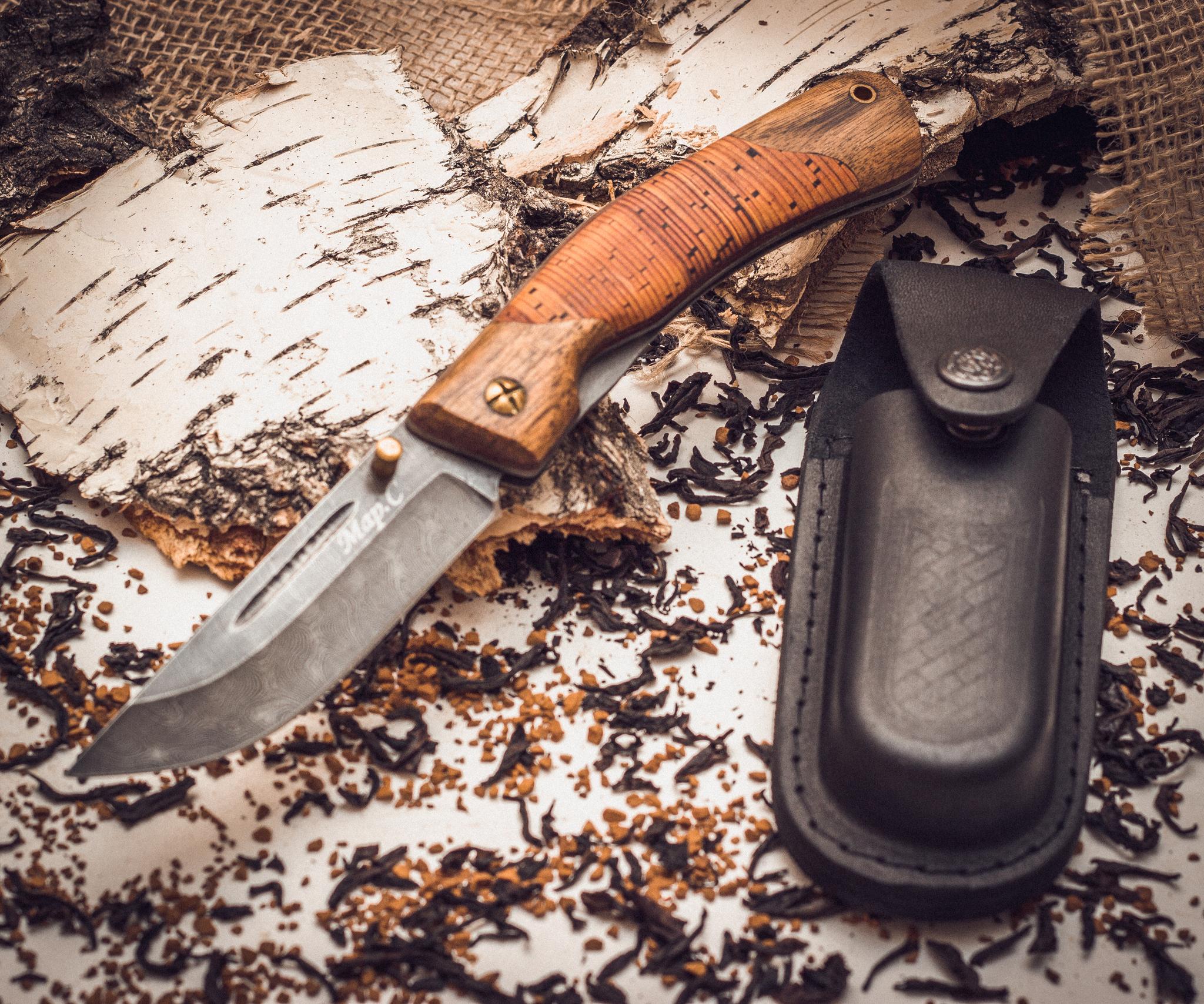 Фото 3 - Складной нож Нижегородец, дамаск, береста от Марычев