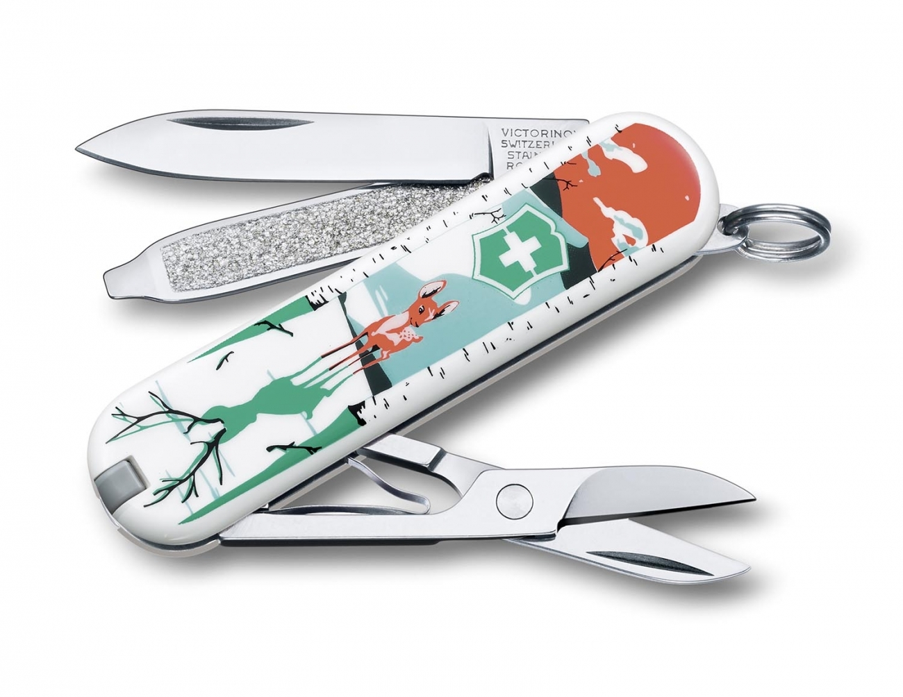 Нож перочинный Victorinox Classic LE2015 They ll Grow, Deer 7 функций 58 ммШвейцарские ножи Victorinox<br>Брендовый нож-брелок Victorinox Classic 58мм с 7-ю функциями. Является миниатюрным вариантом легендарного швейцарского ножа. Нож имеет кольцо на которое можно подвесить ключи.<br>