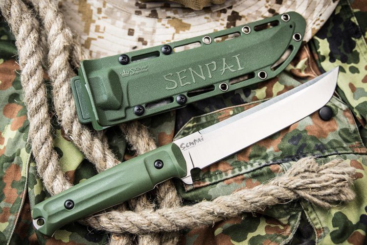 Нож Senpai AUS-8 Satin Olive