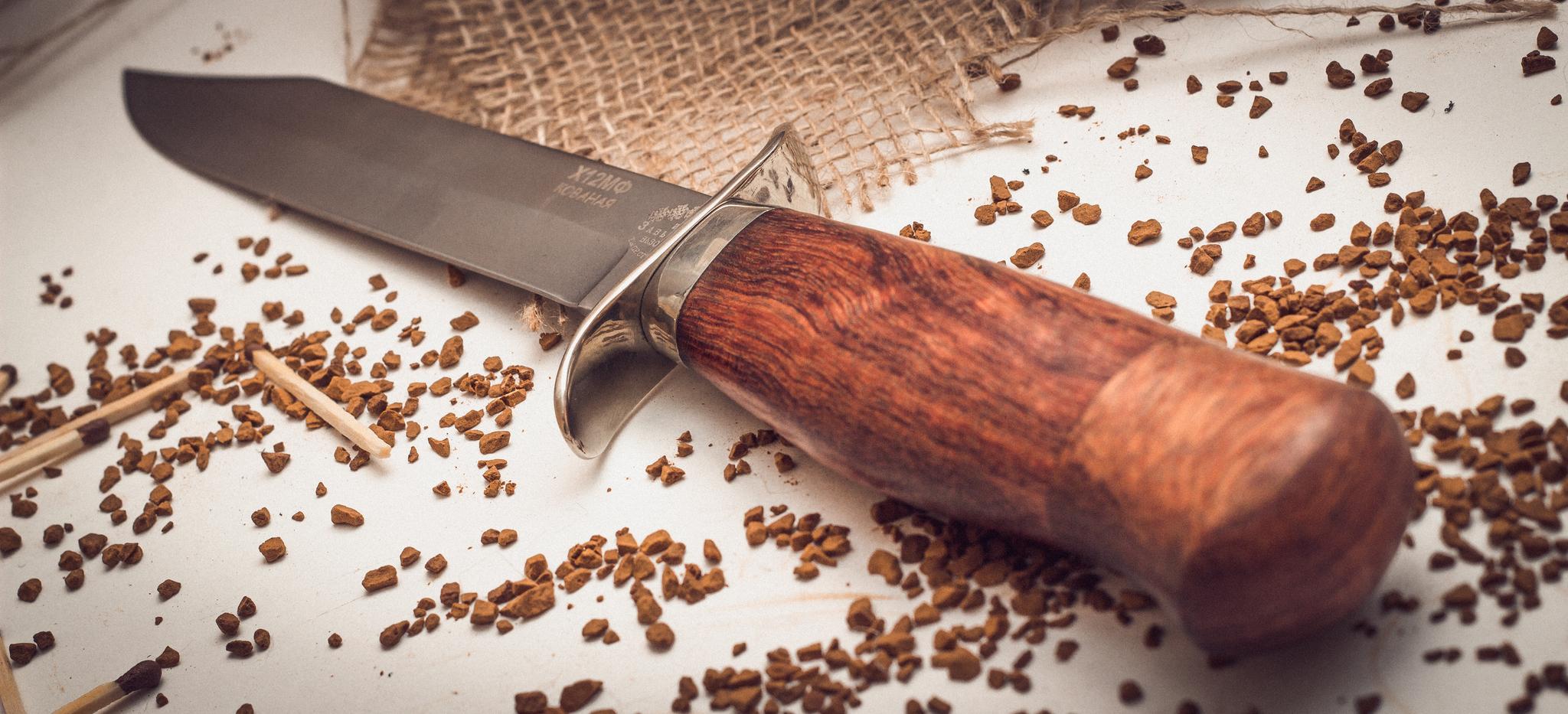 Нож разведчика, кованый Х12МФ, орех