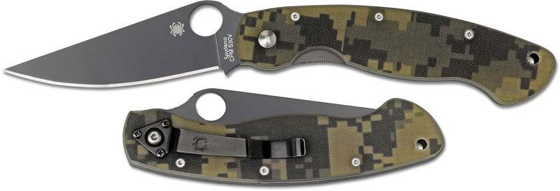Складной нож Spyderco Military Camo BlackРаскладные ножи<br>Складной нож SPYDERCO MILITARY CAMO BLACK станет незаменимым помощником на охоте, рыбалке или в туристическом походе. Для комфортного использования в полевых условиях, нож оснащен камуфлированными накладками. На клинке размещено специальное матовое покрытие, которое не дает бликов и защищает клинок от контактов с агрессивными средами. Благодаря продуманной форме рукояти нож уверенно удерживается большой и маленькой ладонью. Высокие спуски обеспечивают точный и хорошо контролируемый рез.<br>