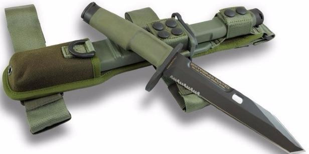 Нож с фиксированным клинком Fulcrum Civilian Bayonet GreenТактические ножи<br>Нож с фиксированным клинком Fulcrum Civilian Bayonet Green, сталь N-690, клинок черный, 1/3 серейтор, рукоятка зеленый пластик, заглушка под ружье,чехол камуфляжный нейлон, дополнительно гарда с кольцом.<br>