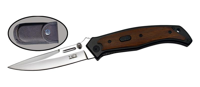 Автоматический нож ФлэшВыкидные и автоматические<br>Oбщая длина- 223 мм Длина клинка- 88 мм Толщина клинка- 3,5 Сталь- 8CR13MOVРукоять- дерево Чехол- кордура<br>