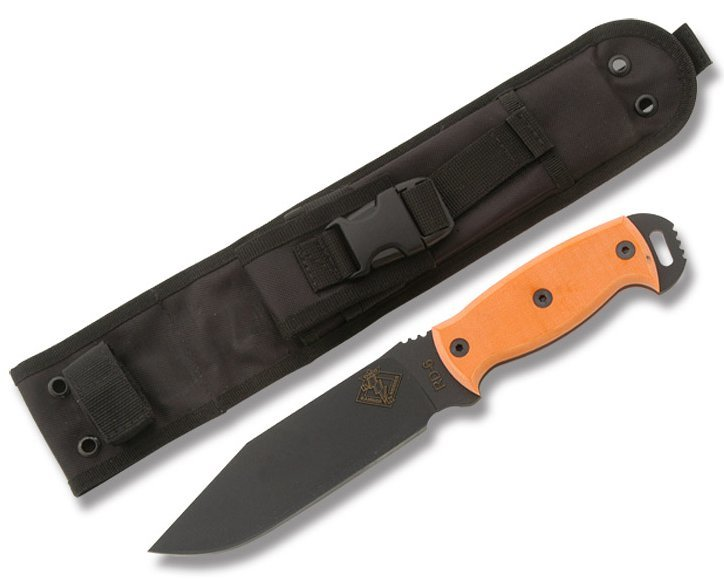 Нож с фиксированным клинком Ontario RD6 Orange MicartaOntario Knife Company<br>Нож RD6 Orange Micarta, сталь 5160, серейтор, клинок черный, рукоять оранжевый G-10 с отверстием чехол черный нейлон с внутренним пластиком.<br>