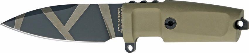 Нож с фиксированным клинком Shrapnel OG Desert Warfare - Laser EngravingОхотнику<br>Нож с фиксированным клинком Shrapnel OG Desert Warfare - Laser Engraving, клинок малый, классический, тигровый окрас, рукоять бежевая резиновая, без верхней гарды, чехол бежевый пластик.<br>