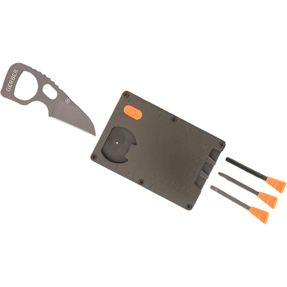 Карта выживания Card ToolBearGrylls<br>Card Tool Gerber является универсальным инструментом и оснащена интегрированными составляющими в виде водонепроницаемого светодиодного фонарика, линейки метрической и дюймовой и открывалки для бутылок. Карта выживания имеет дополнительные, выдвижные инструменты, переносимые в упорядоченный и безопасный способ для пользователя.Стержень огнива приходит в действие с помощью кромки ножа, и воспроизводит, таким образом, искры, которые легко помогут развести костер. С картой выживания от Gerber Вы научитесь находитьнестандартные решения проблемныхситуаций.<br>Состав инструментов:Компактный нож с гладким лезвием для резки.Крестовая отвертка с резиновым держателем.Плоская отвертка с резиновым держателем.Стержень огнива с Ferrocerium прорезиненной рукояткой.<br>Основные преимущества:Прочная стальная конструкция.Водонепроницаемая оболочка.Портативность.Простота в использовании.<br>