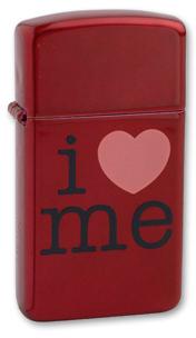 Зажигалка Zippo I Love Me, латунь с покрытием Candy Apple Red™, красный, глнцева, 30х10x55 ммЗажигалки Zippo<br>Зажигалка узка I Love Me<br>