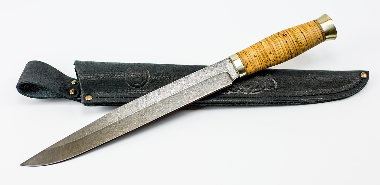 Фото 5 - Нож Фараон, сталь дамаск, рукоять береста от Кузница Семина
