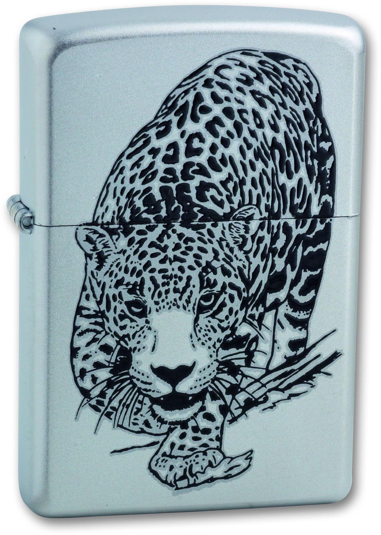 Зажигалка ZIPPO Leopard Satin Chrome, латунь с никеле-хромовым покрыт., серебр., матовая, 36х56х12ммЗажигалки Zippo<br>Зажигалка ZIPPO Leopard Satin Chrome, латунь с никеле-хромовым покрытием, серебряный, матовая, 36х56х12 мм<br>