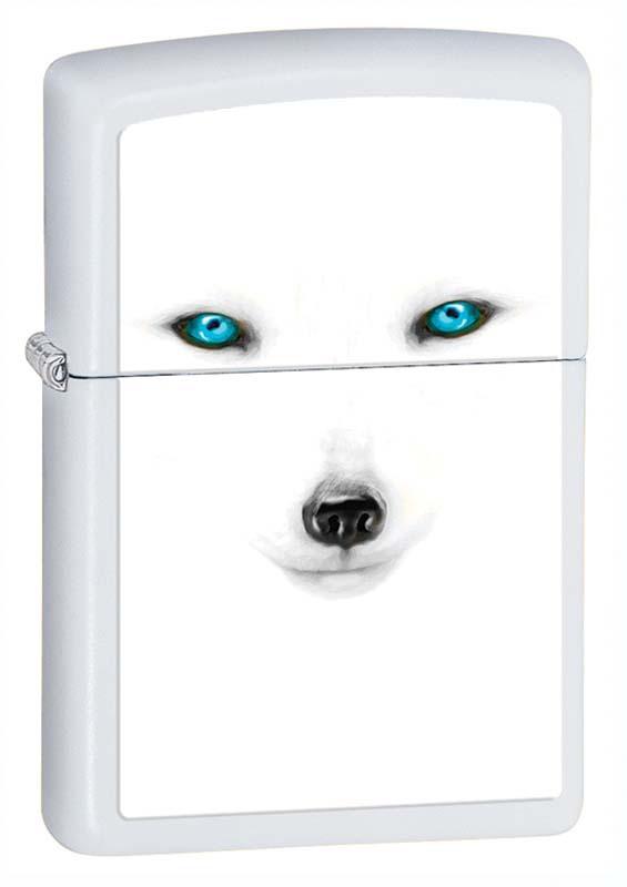 Зажигалка ZIPPO Песец, латунь с покрытием White Matte, белая, матовая, 36х12x56 ммЗажигалки Zippo<br>Зажигалка ZIPPO Песец, латунь с покрытием White Matte, белая с изображением полярной лисы, матовая, 36х12x56 мм<br>