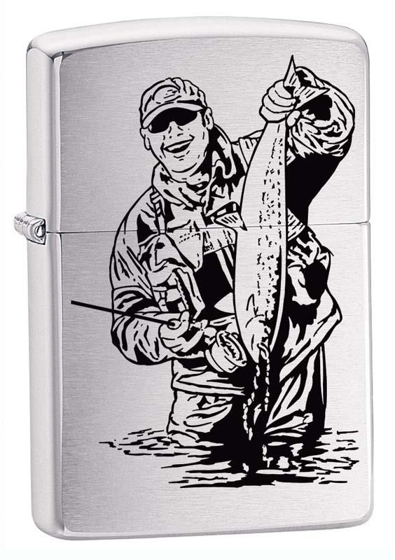 Зажигалка ZIPPO Рыбак, латунь с покрытием Brushed Chrome, серебристая, матовая, 36x12x56 ммЗажигалки Zippo<br>Зажигалка ZIPPO Рыбак, латунь с покрытием Brushed Chrome, серебристая с изображением рыбака с уловом, матовая с глянцевой окантовкой, 36x12x56 мм<br>
