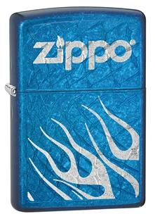 Зажигалка ZIPPO, латунь с покрытием Cerulean™, синий, глянцевая, 36х12x56 ммЗажигалки Zippo<br>Зажигалка ZIPPO Logo Ctrulean, латунь с никеле-хромовым покрытием, серебряный, глянцевая, 36х56х12 мм<br>