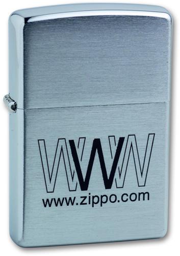 Зажигалка ZIPPO WWW.Zippo Brushed Chrome, латунь с никеле-хром.покрыт., серебр.