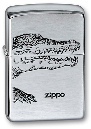 Фото - Зажигалка ZIPPO Alligator, с покрытием Brushed Chrome, латунь/сталь, серебристая, матовая, 36x12x56 cow leather tote bag brand 2018 bolsa feminina new women handbag 100% genuine leather alligator shoulder bag free shipping