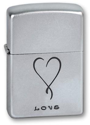 Зажигалка ZIPPO Love Satin Chrome, латунь с никеле-хромовым покрыт., серебр., матовая, 36х56х12 ммЗажигалки Zippo<br>Зажигалка ZIPPO Love Satin Chrome, латунь с никеле-хромовым покрытием, серебряный, матовая, 36х56х12 мм<br>