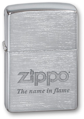Зажигалка ZIPPO Name in flame, латунь с покрытием Brushed Chrome, серебристый, матовая, 36х12x56 ммЗажигалки Zippo<br>Зажигалка ZIPPO Name in flame Brushed Chrome, латунь с никеле-хромовым покрытием, серебряный, матовая, 36х56х12 мм<br>