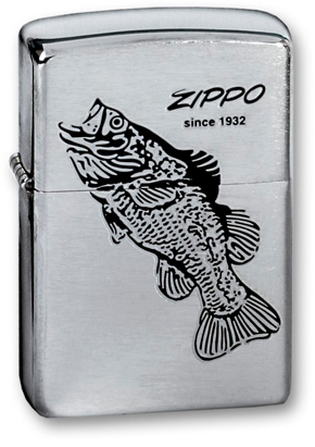 Зажигалка ZIPPO Black Bass Brushed Chrome, латунь с никеле-хром. покрыт., серебр., матов.,36х56х12мм