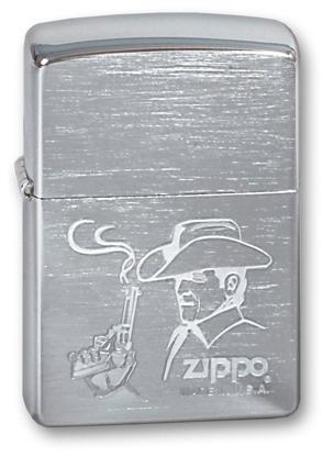 Зажигалка ZIPPO Cowboy Brushed Chrome,латунь,ник-хром..покр.,сереб.,матов.,36х56х12мм