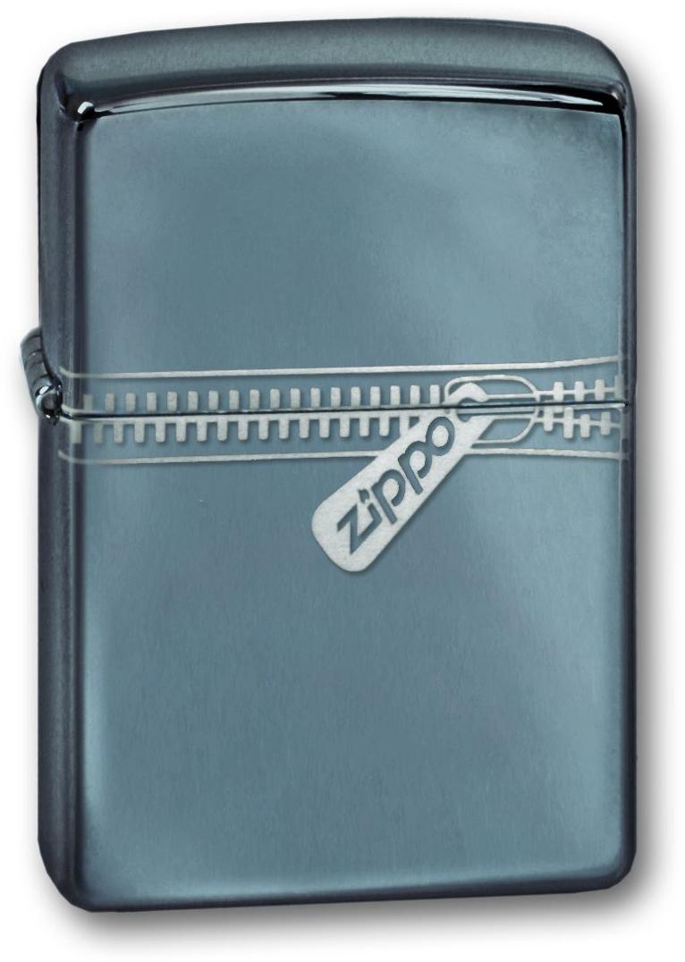 Зажигалка ZIPPO Zipped Black Ice, латунь с ник.-хром. покрыт.,серебр.,глянцевая, 36х56х12 мм
