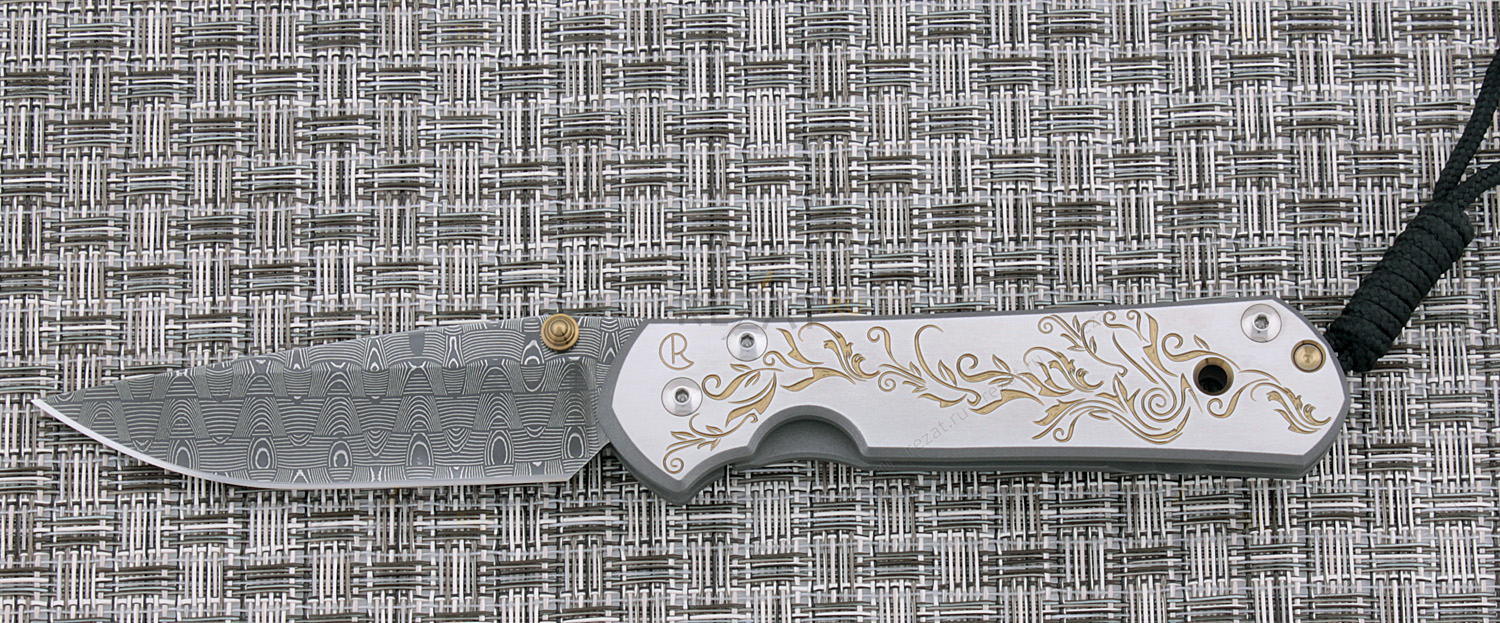 Нож складной Large Sebenza 21 Unique Graphics Gold Leaf, Stainless Basket Weave DamascusРаскладные ножи<br>Нож складной Large Sebenza 21 Unique Graphics Gold Leaf, Stainless Basket Weave Damascus<br>