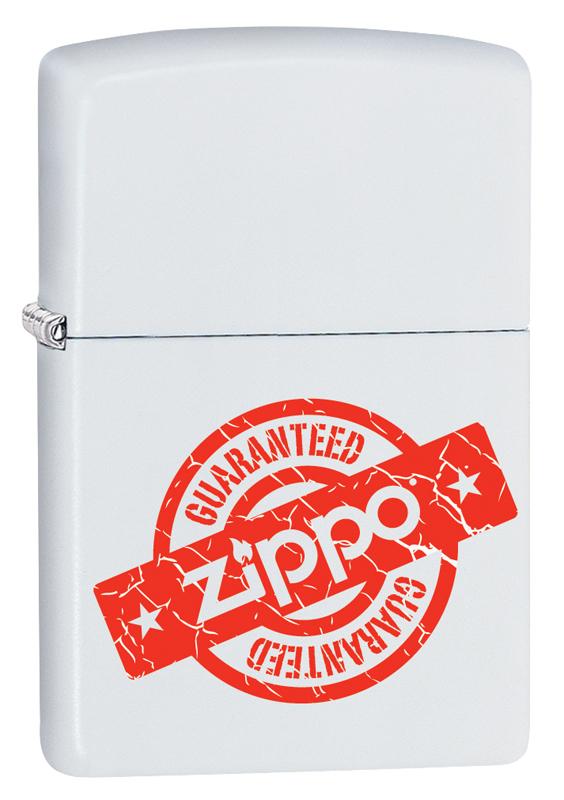 Зажигалка ZIPPO Zippo Guaranteed с покрытием White Matte керосиновая зажигалка zippo