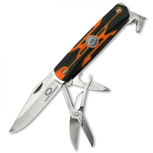 Складной нож мультитул RangerРаскладные ножи<br>Общая длина: 175 ммДлина клинка: 74 ммТолщина клинка: 2 ммСталь: 420 НСТвердость: 54-56HRCМатериал ручки: пластик+резина<br>Лезвие изготовлено из нержавеющей стали. Ручка из высококачественной резины с пластмассовыми вкладышами состоит из стропореза, ножниц, открывателя для бутылок, стеклобоя и шлицевой отвертки. Чехол ножа оснащен огнивом.<br>
