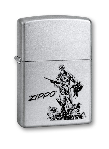 Зажигалка ZIPPO Duck Hunting, с покрытием Satin Chrome™, латунь/сталь, серебристая, 36x12x56 мм free shipping 280mm central distance 100 mm stroke pneumatic auto gas spring lift prop gas spring damper the furniture end