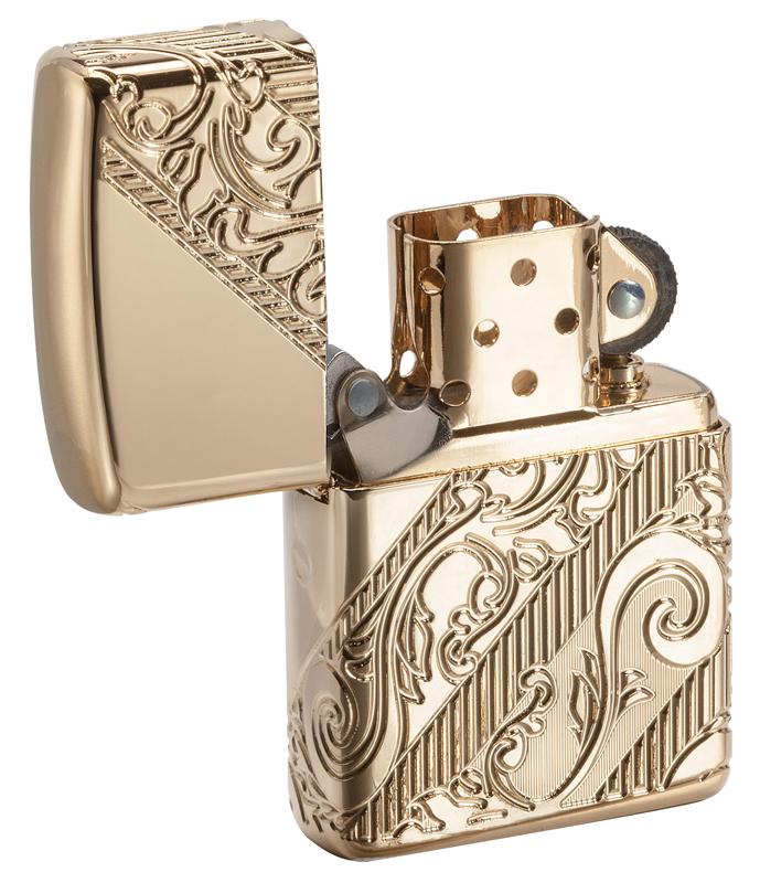 Лимитированная зажигалка ZIPPO Armor® с покрытием Gold Plated, латунь/сталь, золотистая, 36x12x56 мм gold plated banana plug jack connector set golden 3 5mm 10 pairs