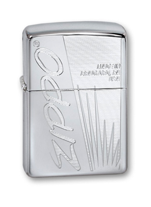 Зажигалка ZIPPO Made In US High Polish Chrome, латунь,ник.-хром.покр.,серебр.,глянц.,36х56х12мм