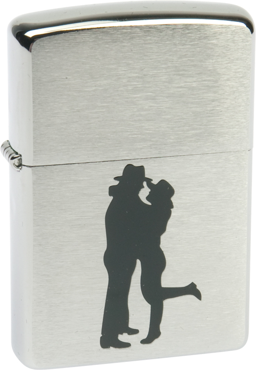 Зажигалка ZIPPO Cowboy Couple Brushed Chrome,латунь,ник-хром.покр,сереб,матов.,36х56х12мм