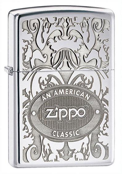 Зажигалка ZIPPO American Classic, латунь с покрытием High Polish Chrome, серебристый, 36х12x56 ммЗажигалки Zippo<br>Зажигалка ZIPPO American Classic High Polish Chrome, латунь с никеле-хромовым покрытием, серебряный, матовая с гравировкой, 36х56х12 мм<br>