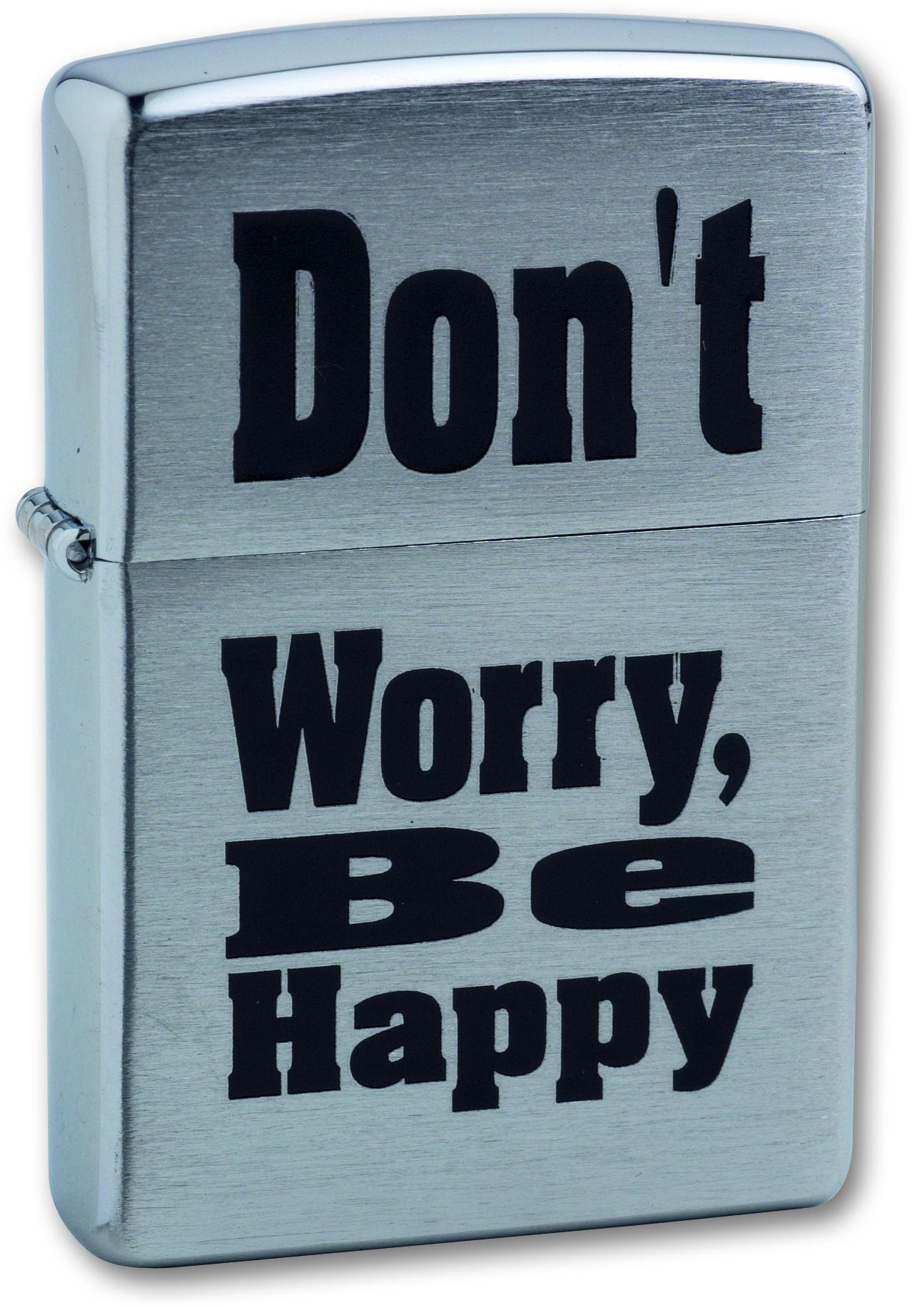 Зажигалка ZIPPO Don`t worry Brushed Chrome,латунь,ник-хром.покр.,сереб.,матов.,36х56х12мм straight talk on worry