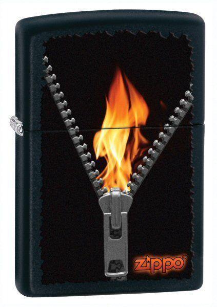 Зажигалка ZIPPO Zipped Black Matte, латунь с порошковым покрытием, черный, матовая, 36х56х12 мм