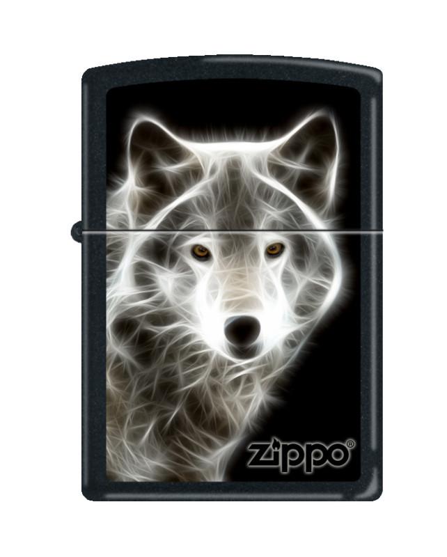 Зажигалка ZIPPO Classic Волк с покрытием Black Matte, латунь/сталь, чёрная, матовая, 36x12x56 мм