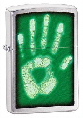 Зажигалка ZIPPO Hand Print Brushed Chrome, латунь с никеле-хром. покрыт., серебр.,матовая,36х56х12ммЗажигалки Zippo<br>Зажигалка ZIPPO Hand Print Brashed Chrome, латунь с никеле-хромовым покрытием, серебряный, матовая, 36х56х12 мм<br>