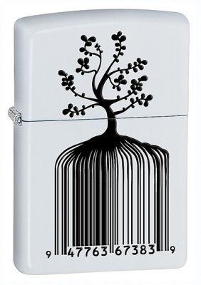 Зажигалка ZIPPO Tree Barcode White Matte, латунь с порошковым покрыт., белый, матовая, 36х56х12 ммЗажигалки Zippo<br>Зажигалка ZIPPO Tree Barcode White Matte, латунь с порошковым покрытием, белый, матовая, 36х56х12 мм<br>