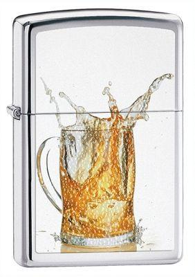 Зажигалка ZIPPO Beer High Polish Chrome, латунь с никеле-хромовым покрыт., серебр.,глянц.,36х56х12мм