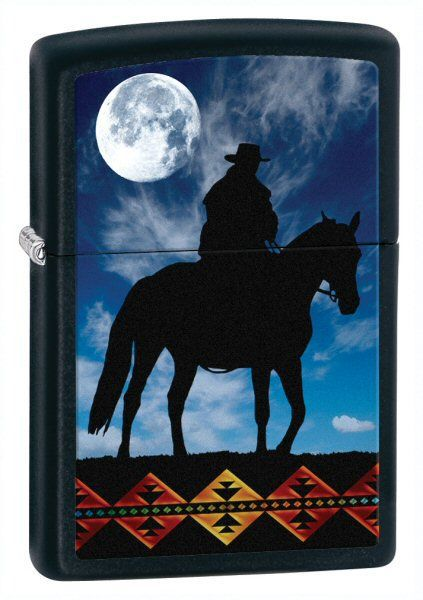 Зажигалка ZIPPO Cowboy Moon Black Matte, латунь с порошковым покрыт., черный, матовая, 36х56х12 ммЗажигалки Zippo<br>Зажигалка ZIPPO Cowboy Moon Black Matte, латунь с порошковым покрытием, черный, матовая, 36х56х12 мм<br>