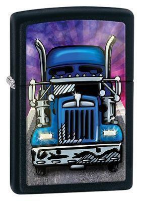Зажигалка ZIPPO Truck Black Matte, латунь с порошковым покрыт., черный, матовая, 36х56х12 ммЗажигалки Zippo<br>Зажигалка ZIPPO Truck Black Matte, латунь с порошковым покрытием, черный, матовая, 36х56х12 мм<br>