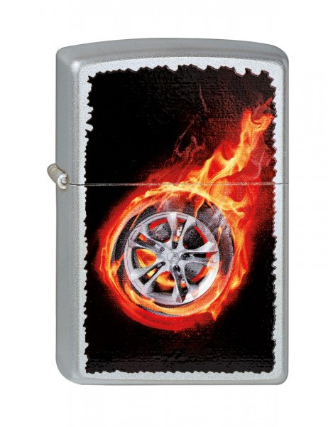 Зажигалка ZIPPO Tire On Fire, латунь, серебристый с нанесением , матовая, 36х12x56 мм universal hotaudio dasaita built in tpms car tire pressure monitoring system car tire diagnostic tool with mini inner sensor