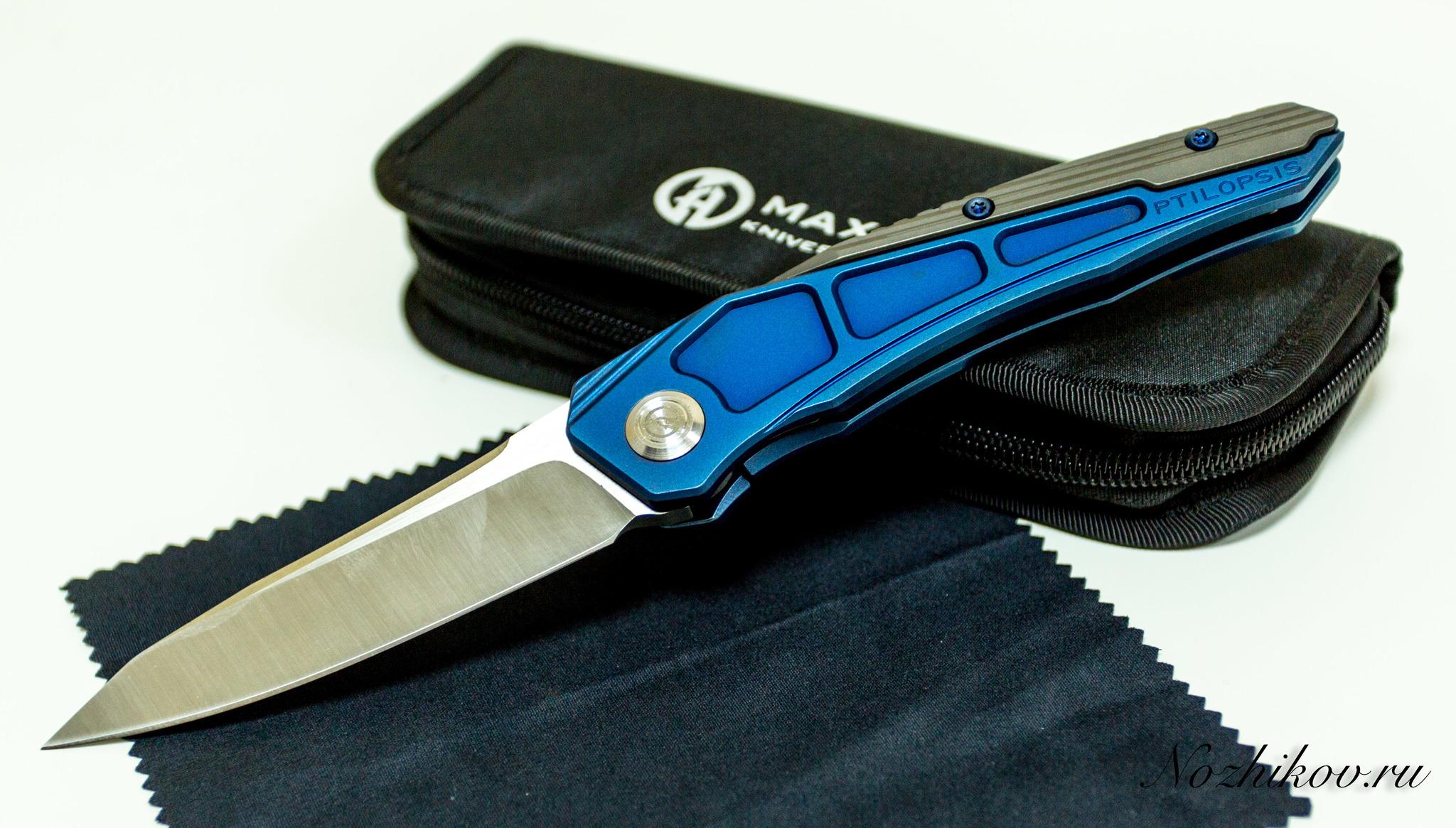 Складной нож Maxace Ptilopsis сталь M390Раскладные ножи<br>СКЛАДНОЙ НОЖ MAXACE PTILOPSIS СТАЛЬ M390 сочетает в себе инновационные материалы, современный дизайн и максимально брутальный внешний вид. Такой нож станет звездой в любой коллекции. Нож можно носить при себе, или можно поместить на коллекционный ложемент и любоваться. Клинок ножа выполнен из порошковой стали высокой твердости, что обеспечивает сохранность режущей кромки в течение длительного времени. Нож легко затачивается до бритвенной остроты. Рукоятка ножа выполнена из облегченного титанового сплава, который используется в космической промышленности.<br>