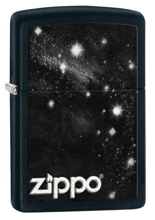Зажигалка ZIPPO Galaxy, латунь с покрытием Black Matte, черный, матовая, 36х12x56ммЗажигалки Zippo<br>Зажигалка ZIPPO Galaxy, латунь с покрытием Black Matte, черный с рисунком звездного неба, матовая, 36х12x56мм<br>